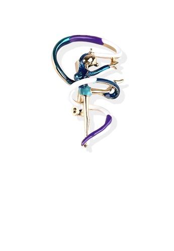 Glamorousky silver Fashion Personality Plated Gold Enamel Blue Ribbon Gymnast Brooch 1377FAC546949CGS_1