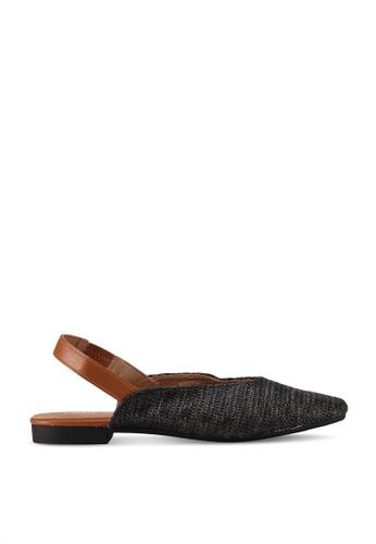 Rubi black Olivia Square Toe Slingback Flats A7AC6SHA35270AGS_1