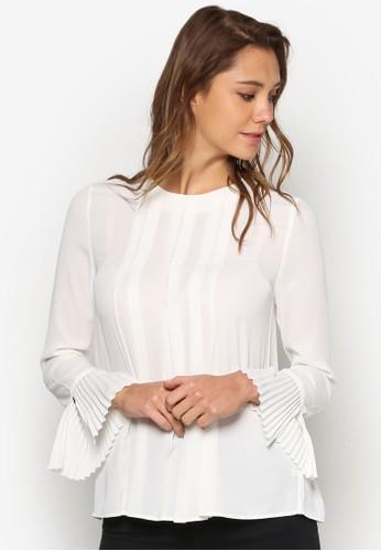 前褶飾長袖T-shirt、 服飾、 上衣WAREHOUSE前褶飾長袖上衣最新折價