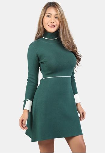 London Rag green Long Sleeve Knitted Bodycon Dress EF570AAC863575GS_1