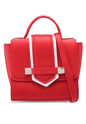 Bagstationz red Colour Block Convertible Top Handle Bag BF205AC7885CE6GS_1