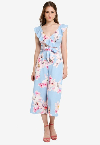 new arrival women diversified in packaging Blue Floral Culotte Jumpsuit