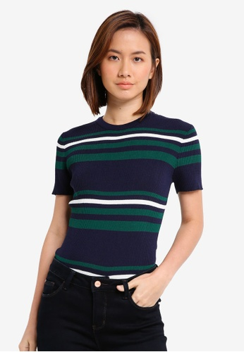 ZALORA BASICS navy Retro Striped Top 8836CAA992812CGS_1