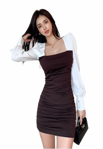 Crystal Korea Fashion brown Korean Square Neck Slim Party Dress 7E741AA7A9D4DDGS_1