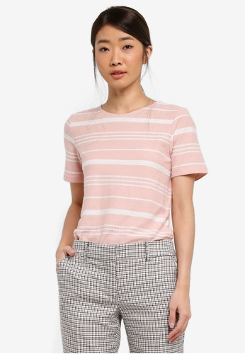Dorothy Perkins pink Pink Textured Striped T-Shirt 50A33AA7A751A0GS_1