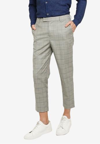 ZALORA BASICS 灰色 Check Tailored Pants DD11EAABDD86D0GS_1