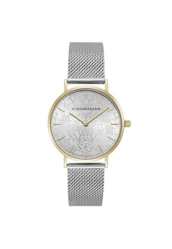 BCBG silver BCBGMAXAZRIA BG50696005 Gold Tone and Silver Stainless Steel Milanese Watch 37275AC12E34F3GS_1
