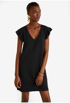 39b843b4c1 Mango black Ruffled Sleeve Dress 88428AA8F72D8CGS 1