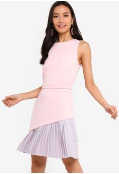 ZALORA grey and pink Sleeveless Contrast Pleated Dress D1355AA66E2296GS_1