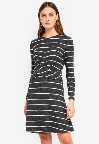 Dorothy Perkins 灰色 Grey Striped Manipulated Skater Dress A52EFAAB625478GS_1
