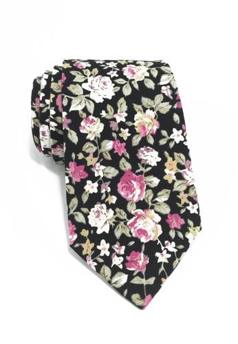 Splice Cufflinks Featherweight Series Floral Design Black Cotton Tie 2 SP744AC53LNUSG_1