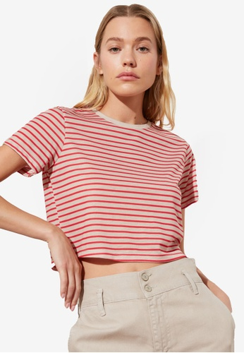 Trendyol red Striped Crop Knitted T-Shirt 921B3AA113C83FGS_1