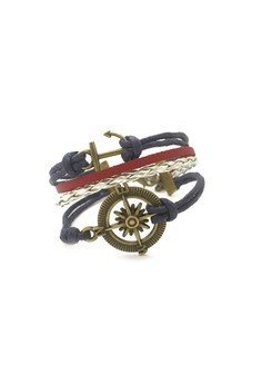 Anchor and Compass Cord Bracelet