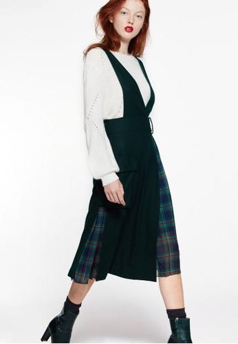 LOVE 格紋拼接裙擺吊esprit 會員帶連身長裙, 服飾, 洋裝
