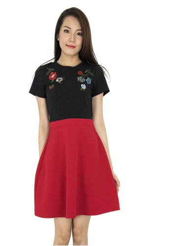 MOONRIVER red Karine Embroidery Fit And Flare Dress 4B380AA12858C2GS_1