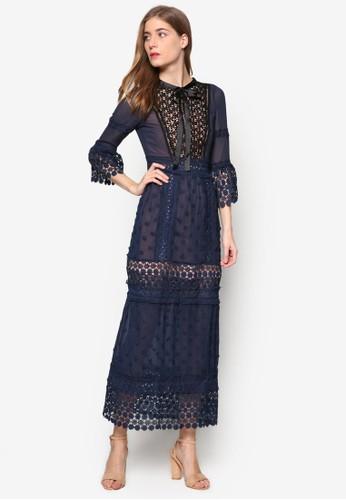 Lesleyesprit 京站's 撞色蕾絲拼接七分袖長洋裝, 服飾, 洋裝
