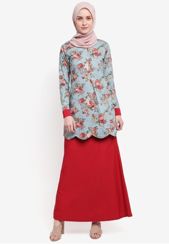Azka Collection red and green and multi Scallop Modern Kurung 9B20FAA10A35B3GS_1