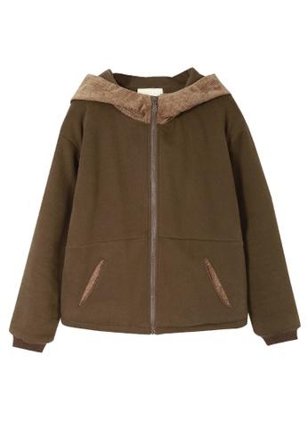 Its Me brown Corduroy Stitching Hooded Plus Fleece Jacket 81E46AA96C91D7GS_1