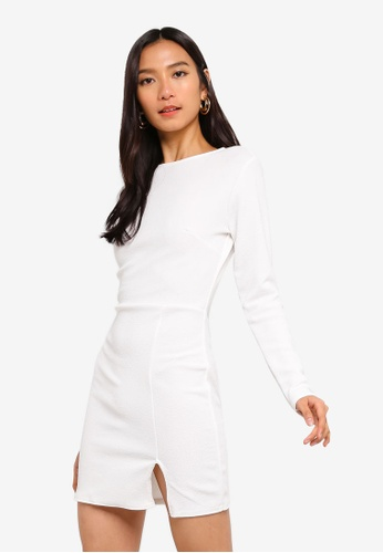 7074d97eaa0c MISSGUIDED white Crepe Long Sleeve Bodycon Dress C7921AAD0E3DF9GS_1