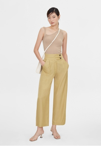 Pomelo yellow High Waist Double Button Pants - Yellow 86A1EAAB123051GS_1