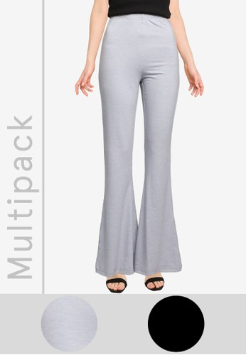 MISSGUIDED black and grey 2-Pack Jersey Flare Pants E80DFAAD7A241DGS_1
