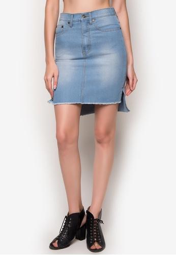 NEXT blue Long Back Denim Pencil Skirt 33C5AAA2E68B90GS_1