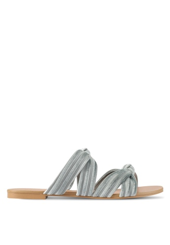 ZALORA blue Velvet Knotted Sandals 1B67BSH33529D8GS_1