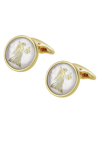 CUFF IT white White Mother of Pearl Virgo Gold Cufflinks C19BAACC2C72CDGS_1