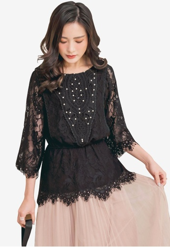 Yoco black Floral Laced Long Sleeve Blouse AB03CAA2278913GS_1
