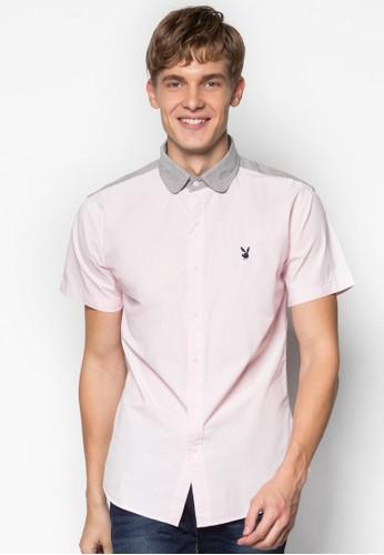 撞色領短袖襯衫, 服飾,esprit門市地址 素色襯衫