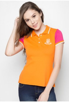 Two-Tone Polo Shirt With Embro & Patch Deatail