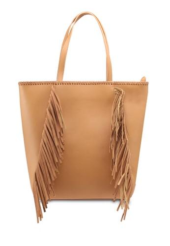 VINCCI brown Fringe Tote Bag 60C02ACFC1EC28GS_1