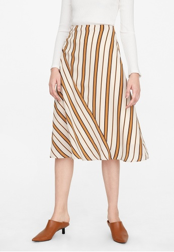 Pomelo beige Striped Fit And Flare Skirt - Cream C5018AAC59920CGS_1