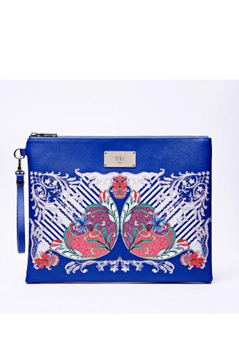 zalora 台灣門市海洋藍底色花樣印花拉鏈手拿包, 包, 包