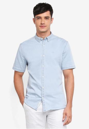 River Island 藍色 Short Sleeve Wasp Bleach Muscle Denim Shirt 75B7AAA7521558GS_1