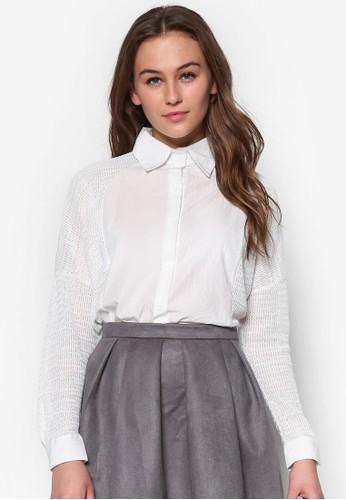 編織拼esprit門市接寬版長袖襯衫, 服飾, 服飾