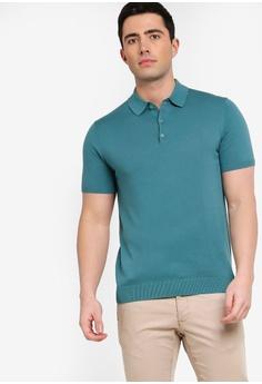 1c6d7246b0f18 MANGO Man green and blue Knit Cotton Polo Shirt 84DE5AA0736CFAGS 1