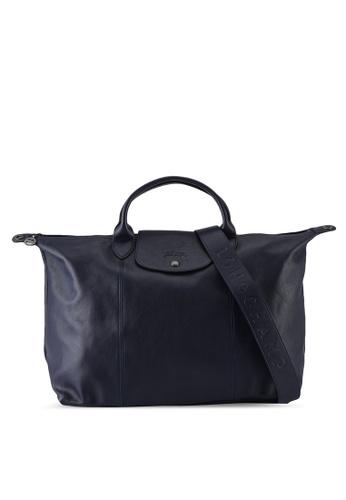 Longchamp blue Le Pliage Cuir Top Handle Bag L (nt) 0761CAC8C0499EGS_1