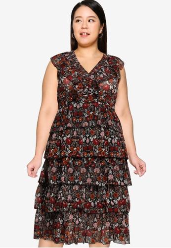 Violeta by MANGO black Plus Size Ruffled Floral Print Dress 21800AAD31FF95GS_1