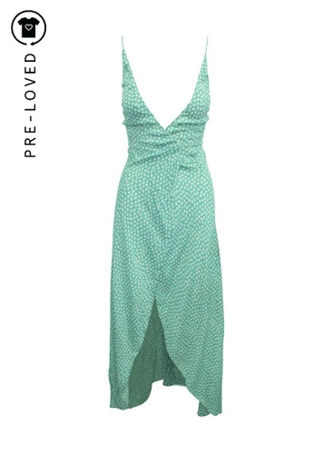 Reformation green Pre-Loved reformation Green Print Wrap Silhouette Summer Dress B77C0AA5330F51GS_1