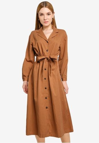 LOWRYS FARM brown Midi Shirt Dress 10503AA65AE680GS_1
