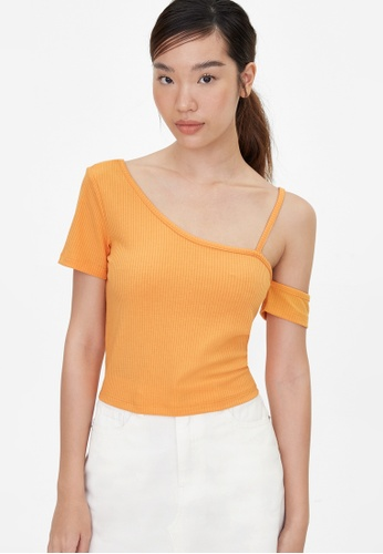 Pomelo orange One Shoulder Strap Crop Top - Orange 897E1AA979D6C1GS_1