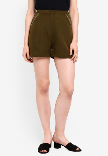 Something Borrowed green Zip Trim Tailored Shorts C588AAA11FFFC9GS_1