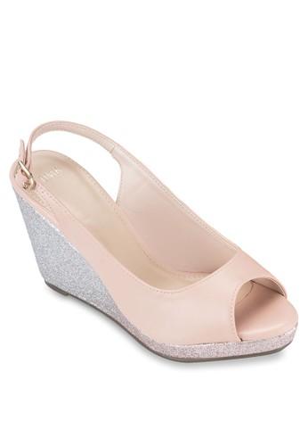 閃飾露趾繞踝楔型跟鞋, 女esprit 京站鞋, 鞋