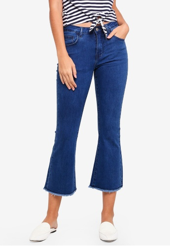 ZALORA blue Cropped Kick Flare Jeans With Knee Slits 392B1AA710997EGS_1