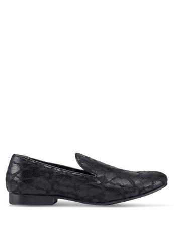 Topman black Black Duke Print Loafers 6883CSHF3FEE58GS_1
