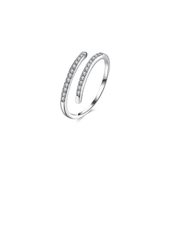 Glamorousky white 925 Sterling Silver Simple Open Ring with Cubic Zircon 3F96DACA8A27A1GS_1