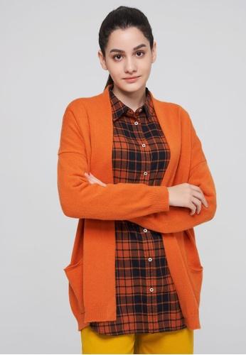 United Colors of Benetton orange Long Cardigan 5C82FAAA9AD688GS_1