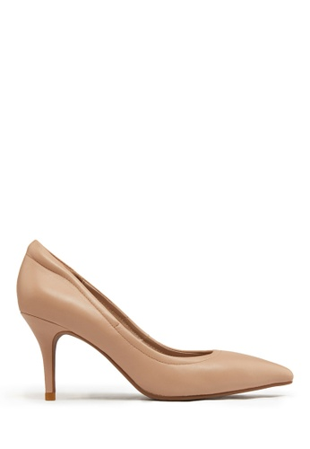 PAZZION beige Pointy Toe Pump DE3E2SH3B70625GS_1