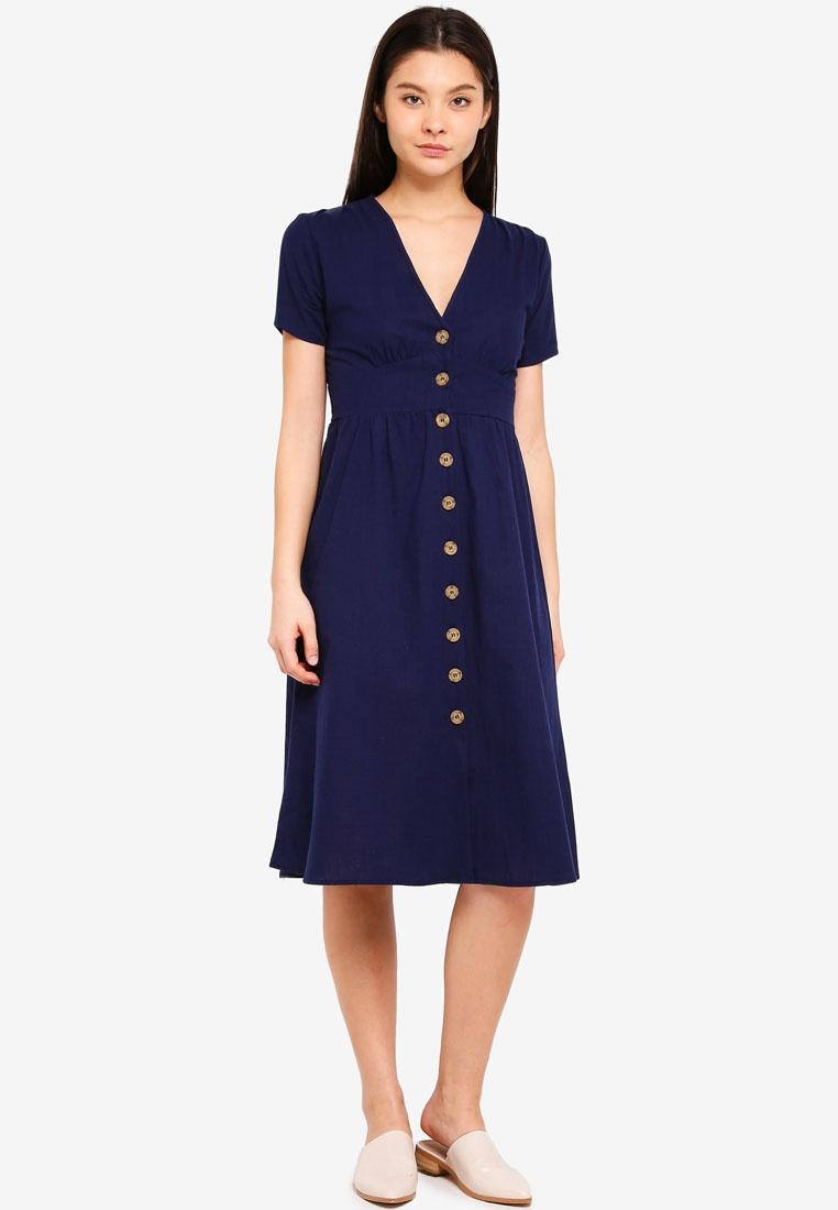 On Midi Dress Woven Button Through Gigi Cotton Navy q1IxtYfw